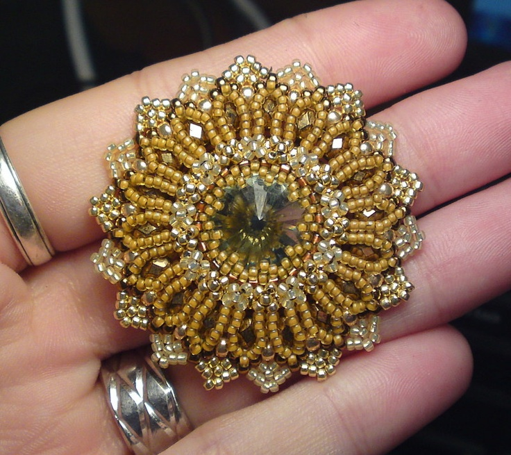 Improved  Beaded Shiny rivoli . U-tube Honey Beads1  Zina also on Etsy buy her Patterns.