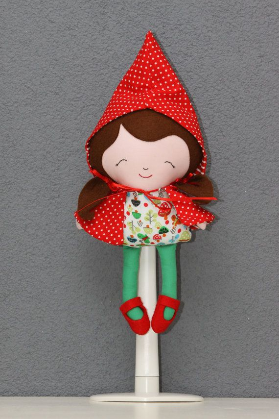 Little Red Riding Hood doll (ragdoll, softie, toy, plush, decoration) made from an original Dollsanddaydreams pattern on Etsy, $37.95 AUD