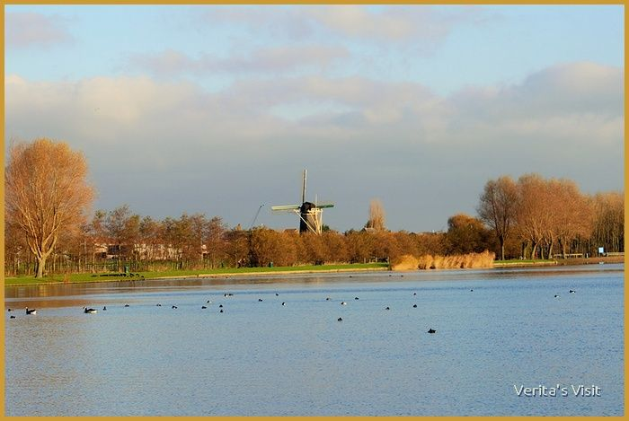 lakes of Nootdorp, also known as Dobbeplas. View on Mill de Vang. Nice cycle route from Delft
