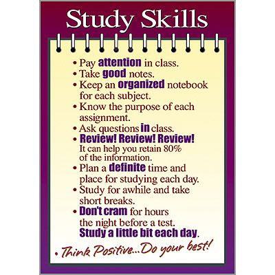 TA-63125 Study Skills ARGUS® Poster: Study Tips, Middle Schools, Picture-Black Posters, Education For Colleges Student, Schools Stuff, Schools Counseling, Study Skills, Posters Study, High Schools