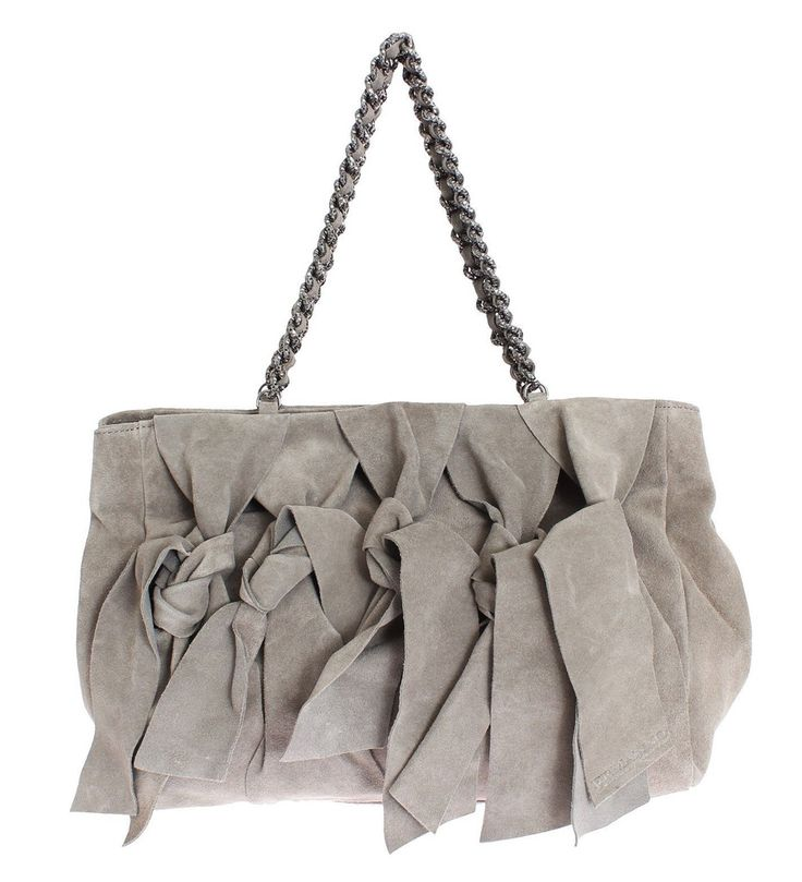ERMANNO SCERVINO Gray Suede Leather Shoulder Bag #cf-color-grey #cf-size-medium #chain