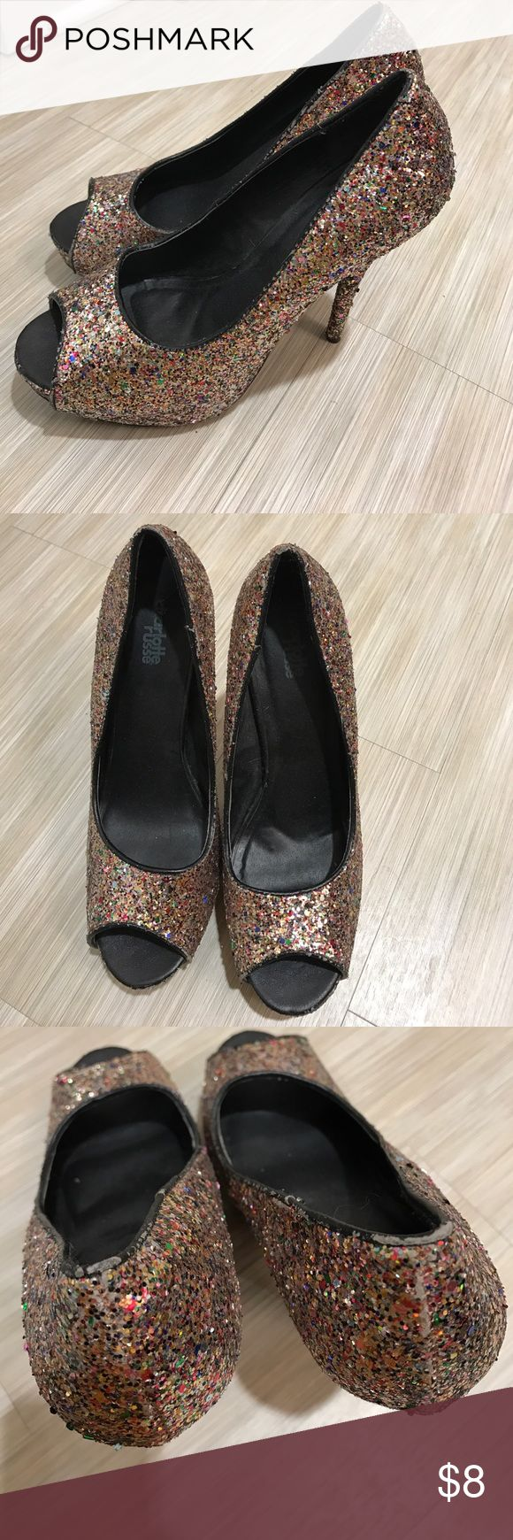 Charlotte Russe Rainbow Glitter Platform Heels Adorable peep toe heels from Charlotte! Some minor signs of wear and tear around ankle, but otherwise great. Charlotte Russe's platform heels are very comfortable! Charlotte Russe Shoes Heels
