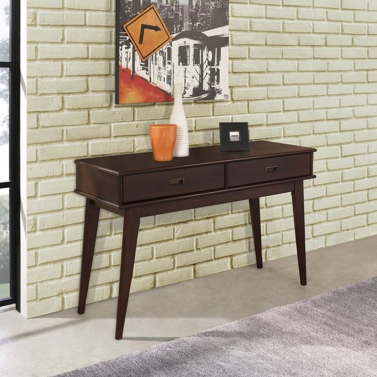 Console Sofa Table Drawer Storage Mid Century Contemporary Living Room Furniture #WYNDENHALL #ContemporaryMidCenturyTransitional #Furniture #LivingRoom #Table #Drawer