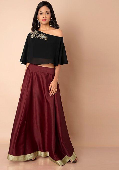 4fd55e2f12 Maroon Sequin Border Silk Maxi Skirt #IndoWestern #Skirt #Ethnic #Fashion  #SpringSummer #Style #MaxiSkirt #LongSkirts