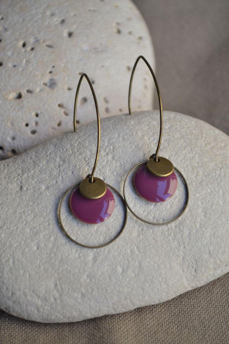 ⋆ Nouveau ⋆ Boucles d'oreilles avec sequin prune et bronze : Boucles d'oreille par libelula-crea