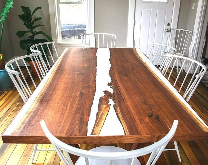 Live Edge Hickory Dining Table With Nakashima Style Base Picture
