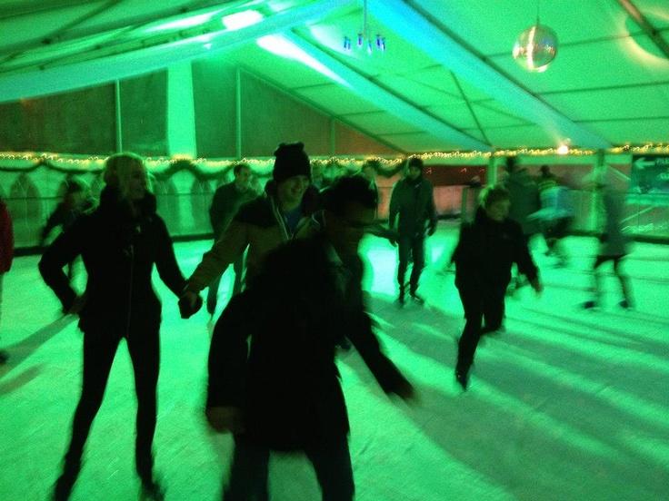 Action shot! Ice skating at Windsor ice rink.