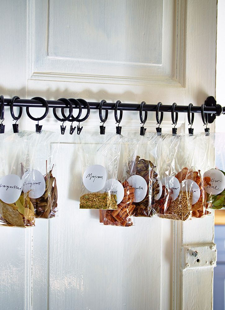 A Towel Bar Or Short Curtain Rod On The Inside Or Back Of A Door Makes A  Great Space Saving Place To Hang Small Bags Or Packs Of Food Items Like  Chips, ...