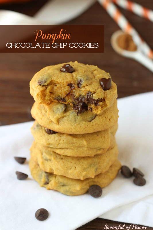 Pumpkin Chocolate Chip Cookies {Spoonful of Flavor}