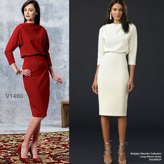 Sew the Look: Badgley Mischka elegant dress for Vogue Patterns. Make V1460 in a moderate stretch knit.