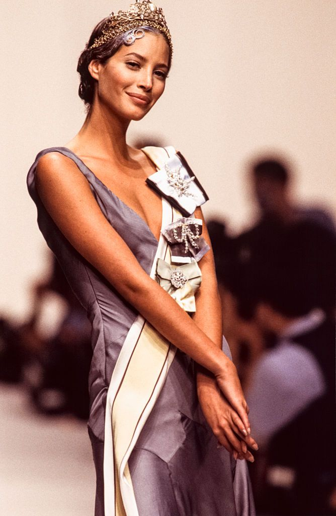 9f9950e51 PARIS, FRANCE - OCTOBER: Christy Turlington walks the runway at the John  Galliano Ready to Wear Spring/Summer 1993-1994 fashion show during the Paris  ...