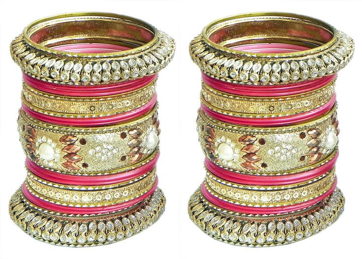 Two Sets of Golden with Red Glitter Bangles (Metal)
