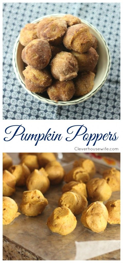 Pumpkin Poppers - a moist pumpkin donut hole covered in cinnamon and sugar