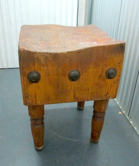 Antique Wood Welded Butchers Block Table Beautiful By Slentis 350 00