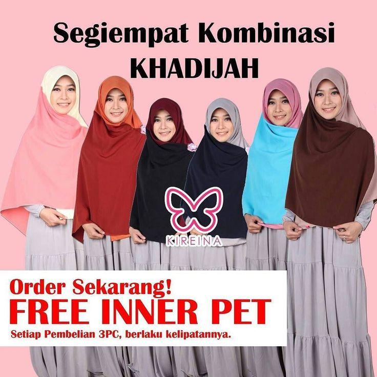 Buktikan hebatnya Khimar Khadijah dari @KireinaButik ini hanya dengan harga 60k. Dapatkan sensasi memiliki khimar unik syar'i dan penuh warna dalam 1 khimar. . KENAPA? Karena Kualitas bahan dan jahitan terjamin. Harga bersahabat. Pilihan warna TERLENGKAP. FREE 1pc Inner Pet senilai 15.000  . Ada banyak pilihan lainnya bisa cek di : @KireinaButik atau @KatalogKireinaButik . ORDER HUBUNGI :  WA : 085722724455  BBM : 7DDC1608  LINE OFFICIAL : @kireinabys (hrs pk '@') . Yuk buruan order sekarang…