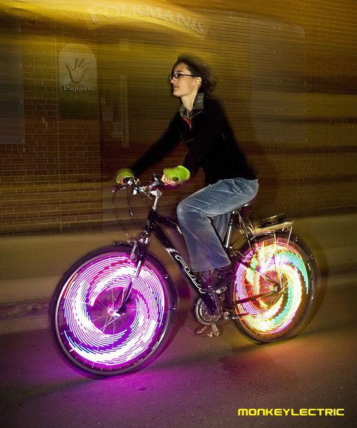 Ultra Bike Light $65.00  These fantastic bike lights come pre-assembled with 32 full color LED lights and 9 exciting light patterns. Every color, pattern, power and speed level is fully controllable through the 4 buttons that are located directly on the device (see image 4). These innovative lights are weatherproof, require only 3 AA batteries (not included) and last up to 30 hours on efficiency mode (6 hours on full brightness). Can be mounted on all bicycle types.   @Manuel Navarro