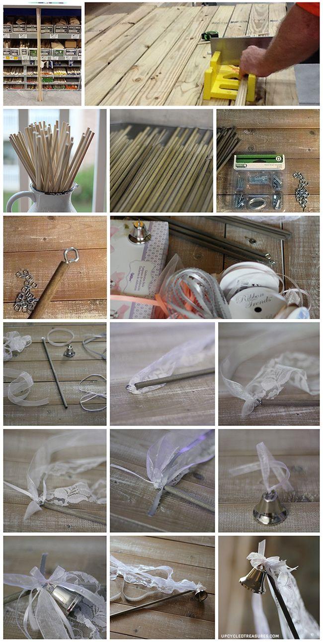 DIY Wedding Wands - Upcycled Treasures #weddingwands So glad I found third! Much better than gluing them on!