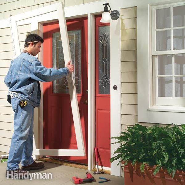 new storm doors are easier to install, with plenty of standard sizes to fit almost any entryway