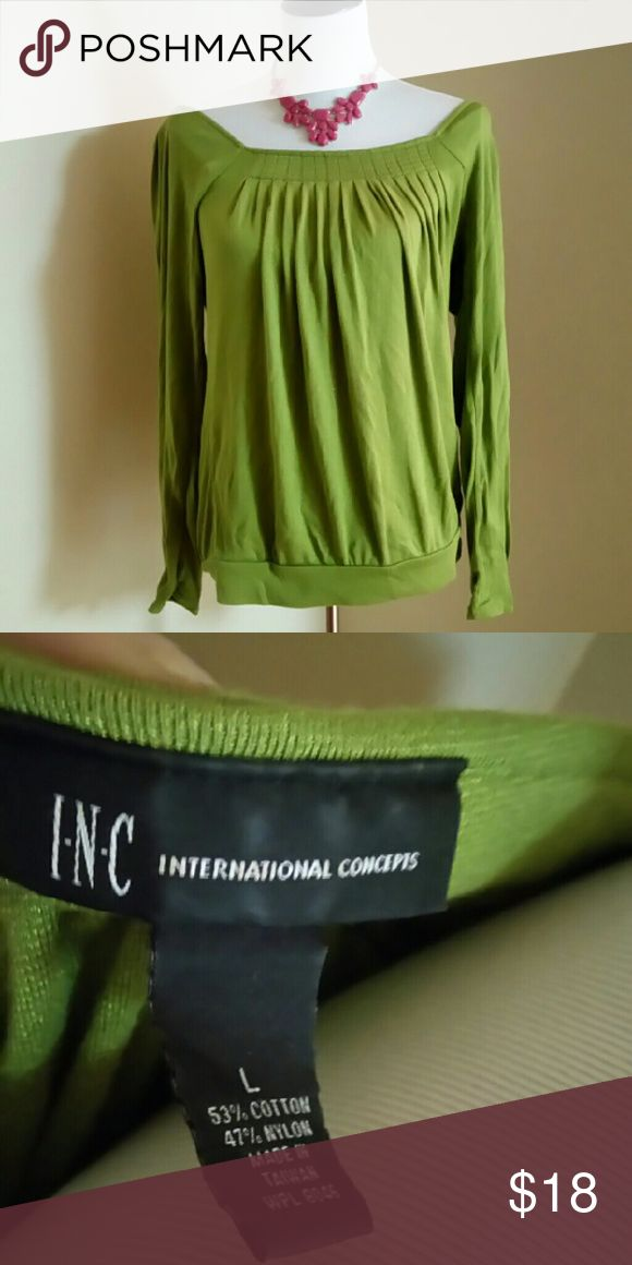 INC international concepts top Lime green goes well with straight pants. Wore couple of times still looks new. No stain or tears INC International Concepts Tops Blouses