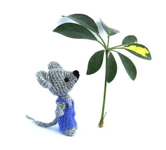 $33.76 little mouse doll, small #amigurumi mouse, crochet mouse, #funnytoy for children, stuffed miniature, mice in pants, grey rat, handmade #cutegift