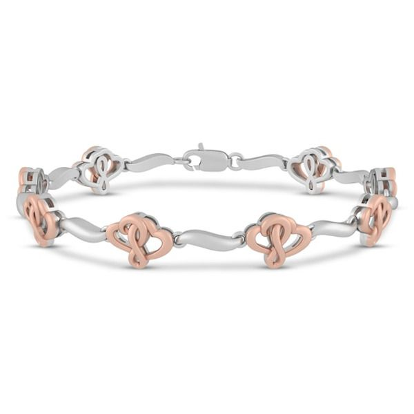 Joining Hearts Bracelet 10k Rose Gold Sterling Silver 7 25 In 2020 Heart Bracelet Gold Sterling Silver Bracelets