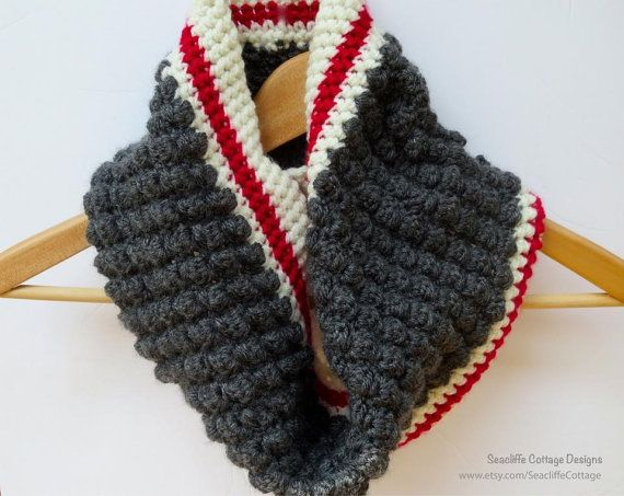 Grey Cowl Grey Neck Warmer Construction Sock Monkey Fall Winter Fashion Textured Scarf Grey Red Ivory