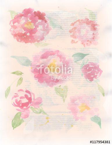 цветочный фон в винтажном стиле. Акварель