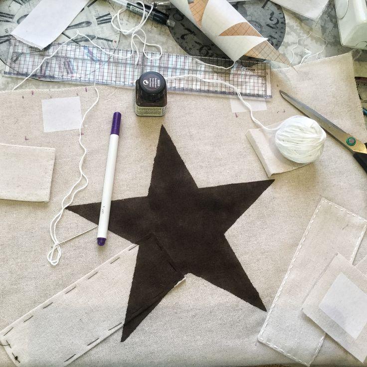 """Linen beach bag with paint """"star""""😊"""