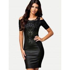 Vestido Por la Rodilla Negro Elegante Online MS770