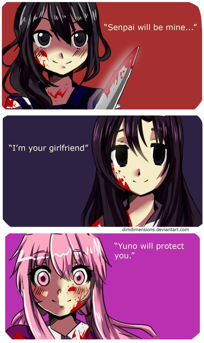 Yandere-chan and Queen Yuno! Anyone knows the girl in the middle?