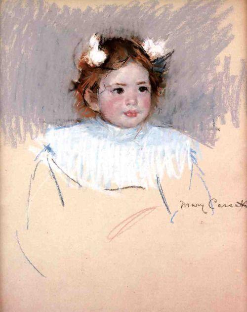 「右を見ているリボンをつけたエレン」1899年頃メアリー・カサット Mary Cassatt,Ellen with Bows in Her Hair, Looking Right