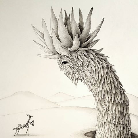 Kaggen's parley with the Aloe King.   #prayingmantis #mythology #aloe #southafricanart #illustration #cagn #gods #kings #fantasy