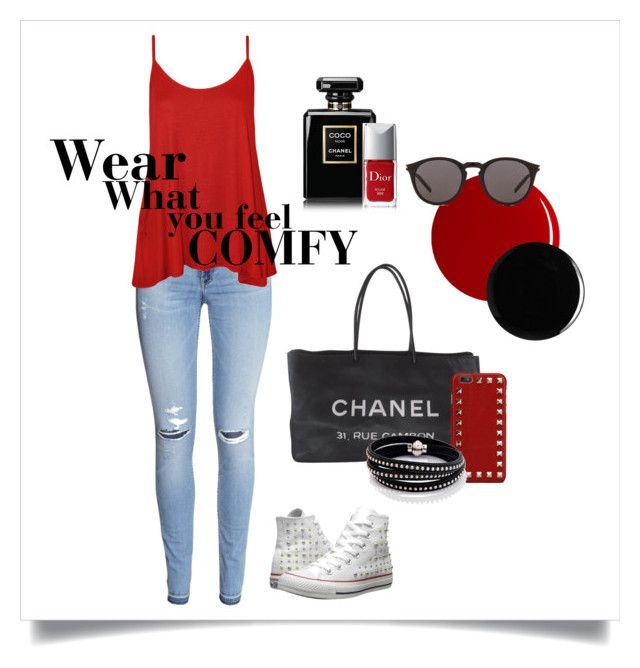 Wear what you feel comfy by chiara-arduino on Polyvore featuring moda, WearAll, H&M, Converse, Chanel, Sif Jakobs Jewellery, Valentino, Yves Saint Laurent, RGB and Deborah Lippmann