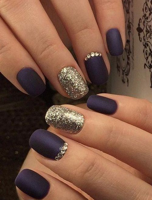 Tremendous Navy Blue Nail Art Designs With Glitter And Jewels For