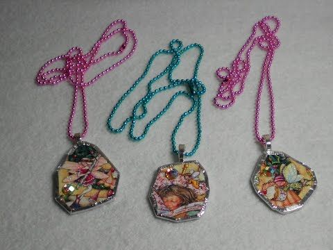 DIY~Adorable Recycled CD Christmas Card Pendant Necklace! - YouTube