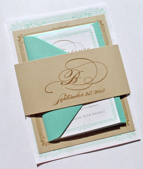 Gold And Blue Wedding Invitations: Tiffany Blue And Gold Wedding Invitations By Whimsy B