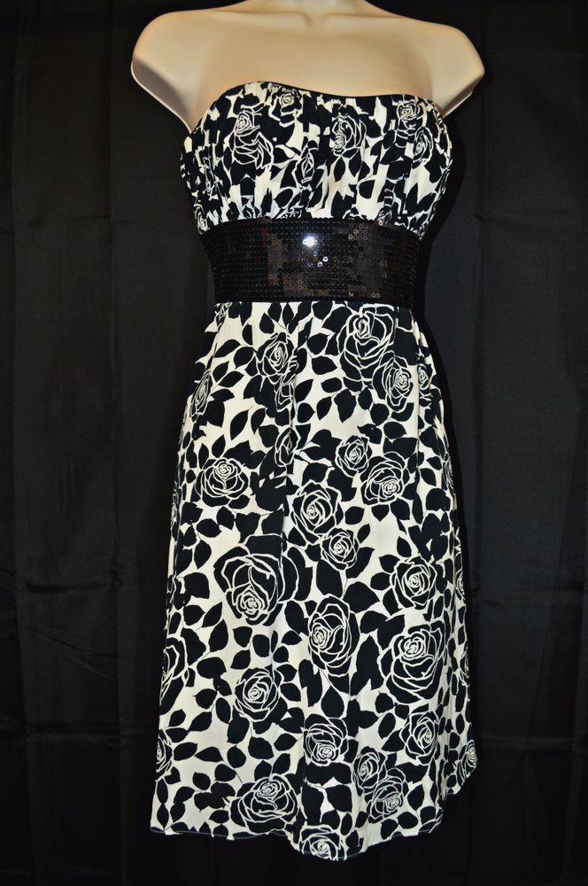 White House Black Market Dress Black & White Size 6 Strapless #WhiteHouseBlackMarket #strapless