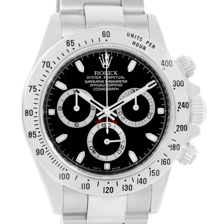 15001 Rolex Cosmogra  15001 Rolex Cosmograph Daytona Stainless Steel Black Dial Mens Watch 116520 SwissWatchExpo