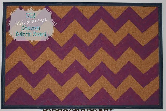 Chevron Painted Bulletin Board
