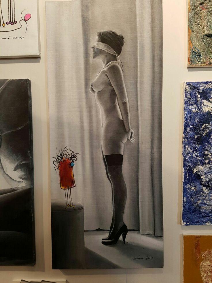 Autore. Nicola soriani    Titolo. Giochi di ruolo     Anno. 2017    tecnica. Olio su tela di lino     Dimensioni. Cm 40 x cm 94