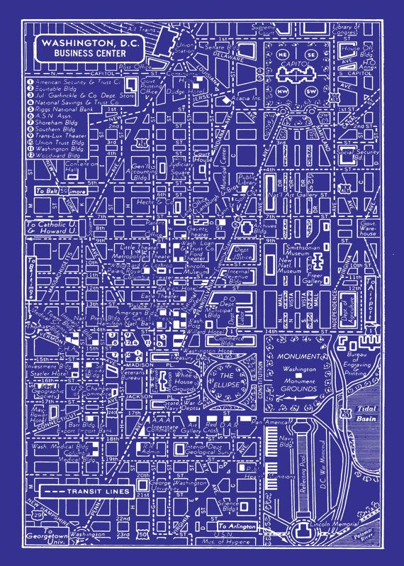 1949 Vintage Map of Downtown Washington DC 11x17 Blueprint Map Print Poster. $14.95, via Etsy.