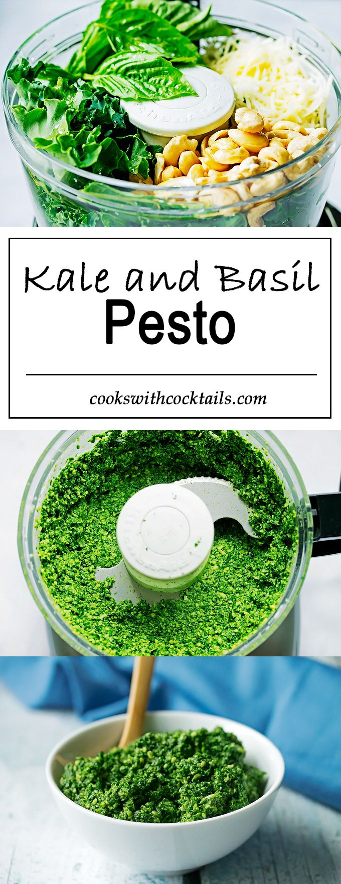Garlicy, fresh and fragrant with a tiny chew to it and with a huge dose of Kale, even healthier than the traditional version.  This pesto will go well with any pasta dish or crostinis for that matter.  #pastasauce #veggies #healthyeating