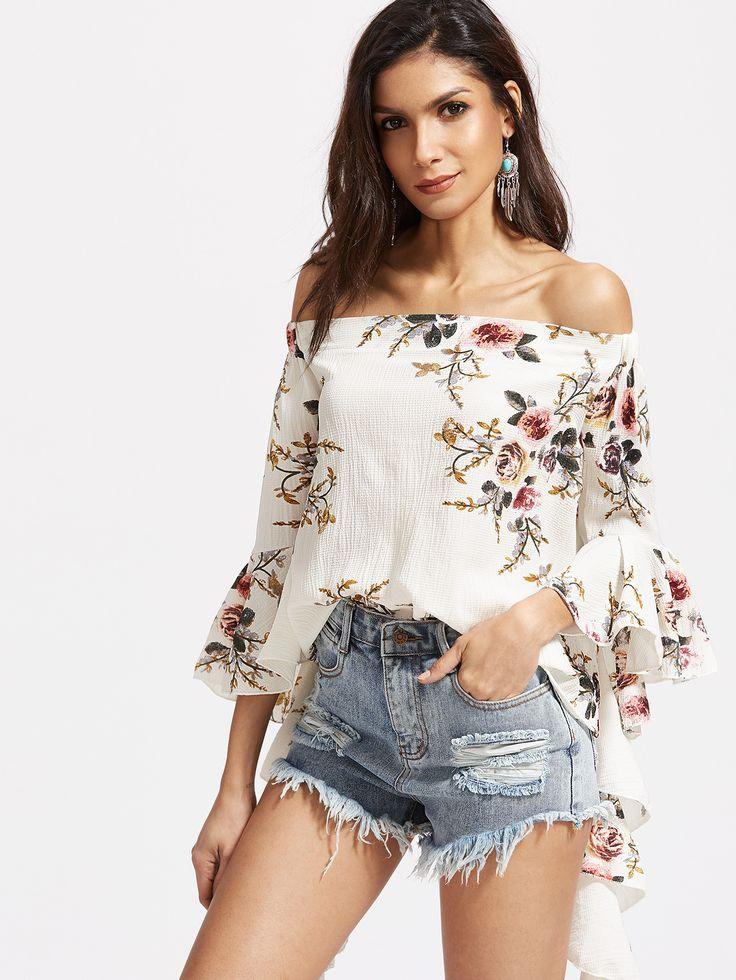 Top floral con hombro al aire de manga acampanada - blanco-Spanish SheIn(Sheinside)