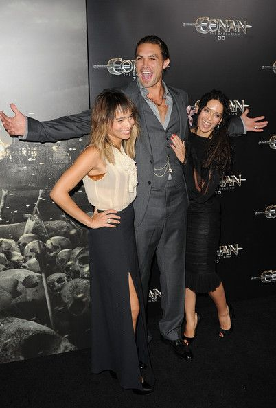 """Lisa Bonet Jason Momoa Photos Photos - (L-R) Zoe Kravitz, Jason Momoa, and Lisa Bonet attend the world premiere of """"Conan The Barbarian"""" held at Regal Cinemas L.A. Live on August 11, 2011 in Los Angeles, California. - Premiere Of Lionsgate Films' """"Conan The Barbarian"""" - Arrivals"""