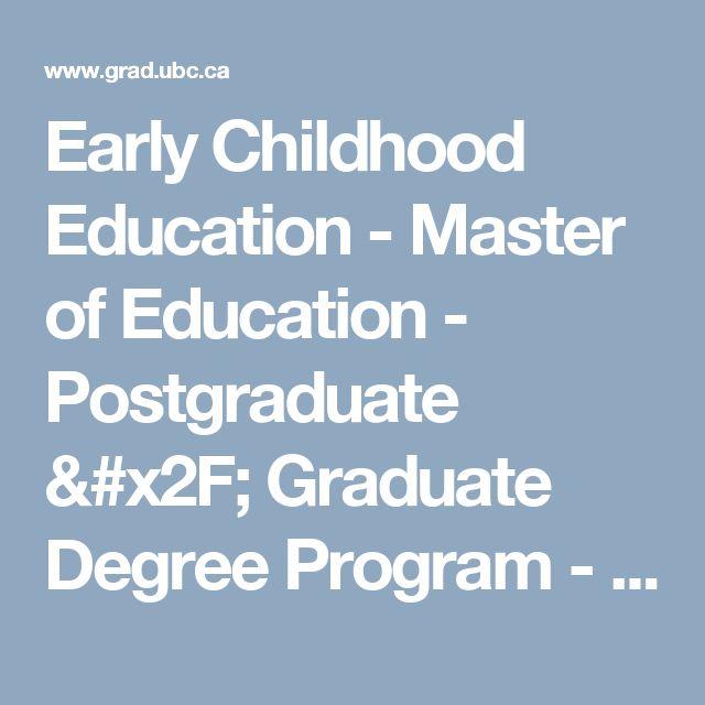 Early Childhood Education - Master of Education - Postgraduate / Graduate Degree Program - UBC Grad School