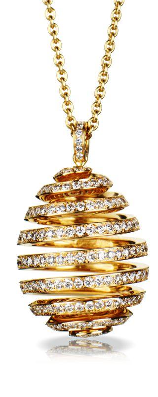 Spiral Diamond Yellow Gold Pendant by Fabergé .