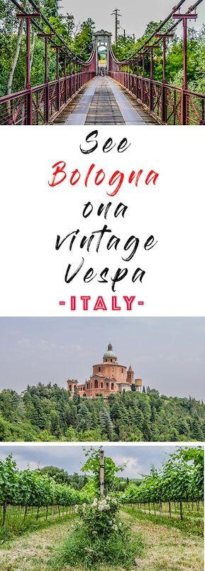 Riding vintage vespas in bologna Italy