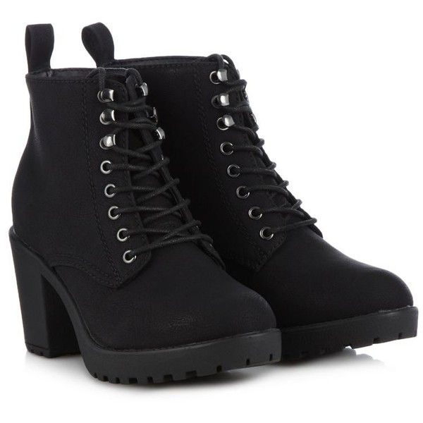 Call It Spring Black 'Hiesen' high ankle boots ($87) ❤ liked on Polyvore featuring shoes, boots, ankle booties, heels, black, botas, call it spring boots, black bootie, short boots y black heel boots