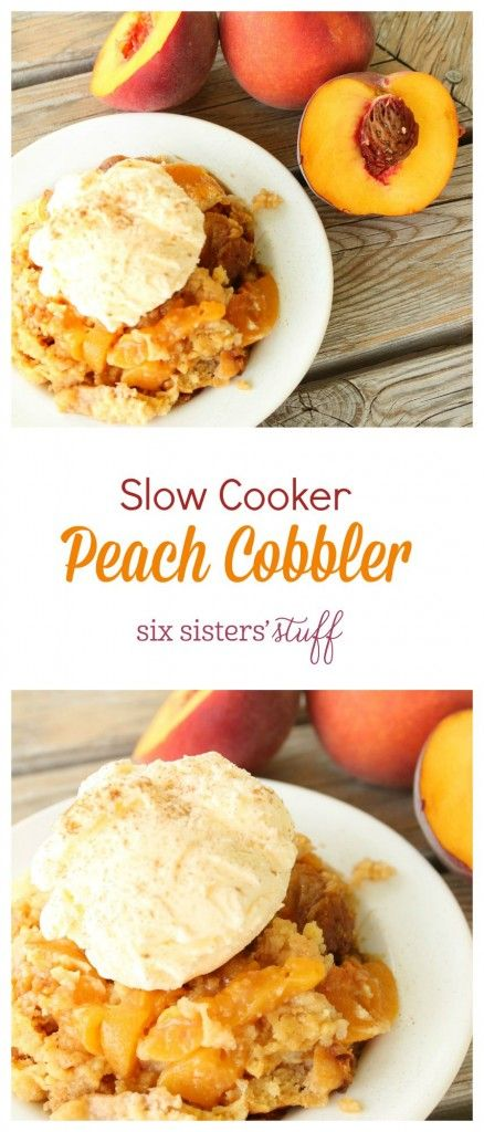 Slow Cooker Peach Cobbler from Six Sisters' Stuff tastes amazing!!