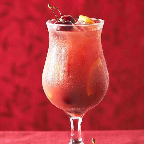 Cool off with this Sweet Cherry Sangria. More fruity sangria recipes: http://www.bhg.com/recipes/drinks/wine-cocktails/sangria-recipes/?socsrc=bhgpin070713cherrysangria=10